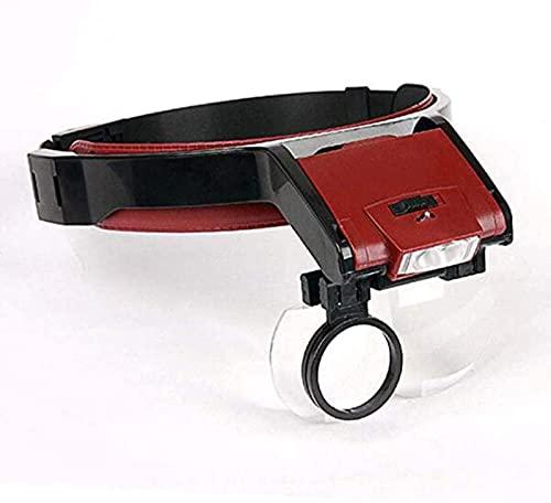 Lupa Lupa de diadema manos libres con luz LED Zoom de -1X a 4.5X con 5 lentes desmontables-Gafas de aumento de cabeza montadas en la cabeza con luz para lectura, lupa, reloj, reparación electróni