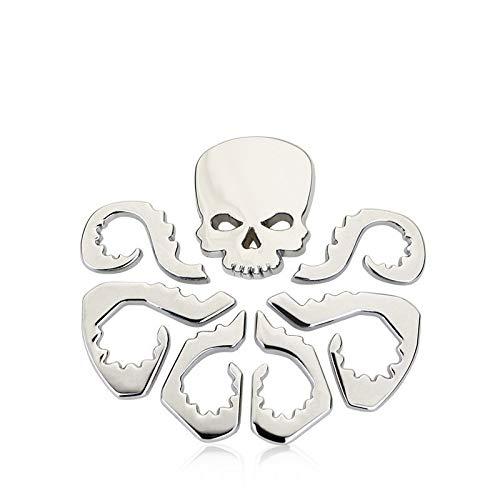 Tehui Red Skull stereoskopische 3D-personalisierte Auto-Logo Aufkleber Avengers hydraMetallKarosserie Paste Schwanz Aufkleber (Color : Silver)
