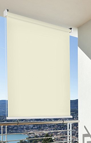 CV Balkon-Sichtschutz Balkon-Markise Balkon-Windschutz Rollo Creme vertikal Polyester 140 x 140 cm