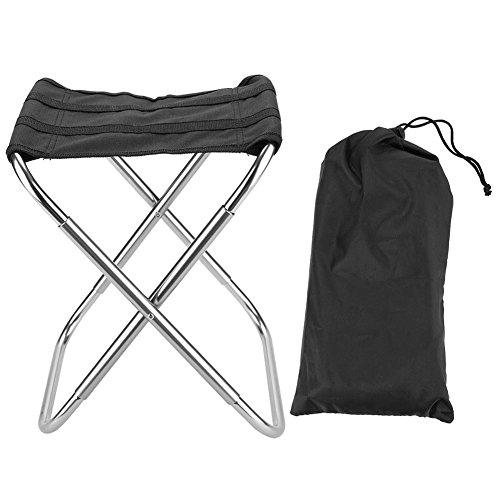 Weikeya Silla de camping, taburete plegable portátil apretado Cruz aleación de aluminio aleación de aluminio Oxford tela para acampar al aire libre Picnic Pesca (Plata)
