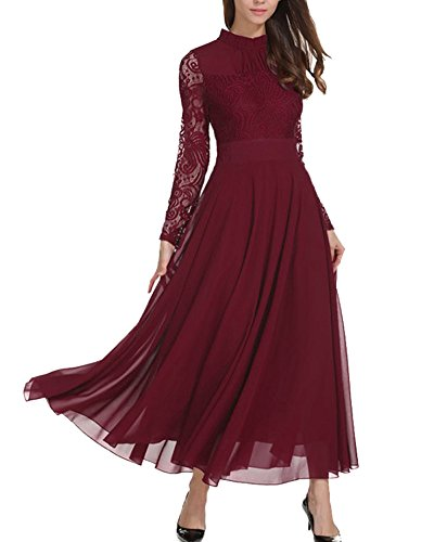 Aox Damen Classy Langarm Crochet Lace Patchwork A-Linie Chiffon Swing Kleid Schönheit Empire Party Brautjungfer Maxi Kleid Vestidos (36, Dunkelrot)