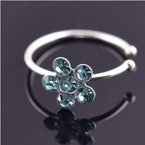 YYJDM-U Shaped Fake Nose Ring Hoop Septum Rings Stainless Steel Nose Piercing Fake Piercing Pircing Jewelry,BlueDiamond