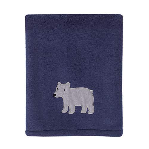 Carter's Explore Baby Bear Navy, Grey Super Soft Plush Coral Fleece Baby Blanket with Bear Applique, Navy, Grey,