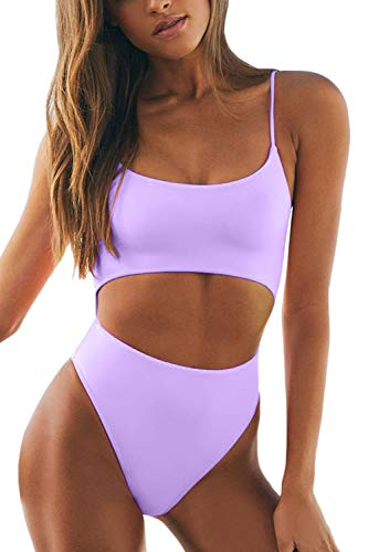 Meyeeka Womens Scoop Neck Cut Out Front Lace Up Back High Cut Monokini One Piece Swimsuit (M, Purple)