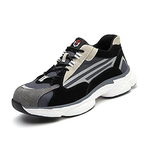 Aingrirn Zapatos de Seguridad Hombre Mujer Transpirable Zapatillas de Seguridad con Puntera de Acero Cómodos Ligeros y Antideslizantes (Color : Black, Size : 39 EU)