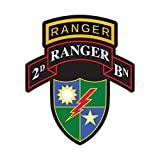 fagraphix 2nd Ranger BN with 75th Ranger Regiment Insignia Sticker Decal Self Adhesive Battalion Sleeve Rangers 2D 6.00' Wide