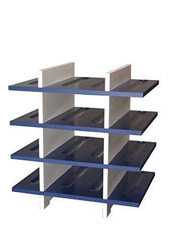 Expovinalia Porte-Bouteilles pour 16 Bouteilles, MDF, Blanc et Bleu, 39 x 28 x 40 cm