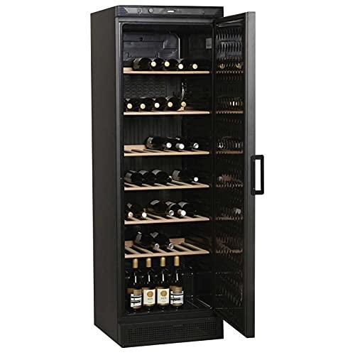 Recipiente para vino con puerta completa lacada, color negro, 372 litros – 118 botellas – R600A