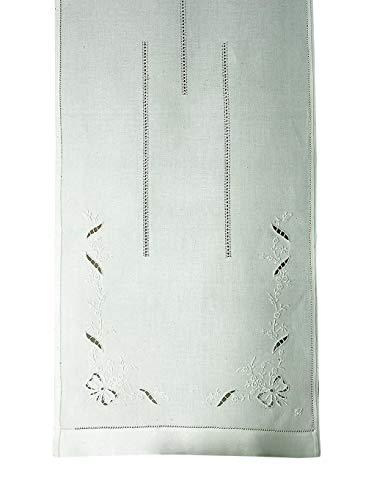 Zenoni & Colombi Coppia di Tende Ricamate a Mano Coimbra Made in Italy Misto Lino Varie Dimensioni (45x130)