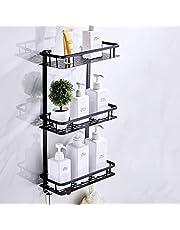 Cesta para Ducha Estanteria - Estante de almacenamiento de baño con canasta de esquina rectangular de aluminio sin perforaciones