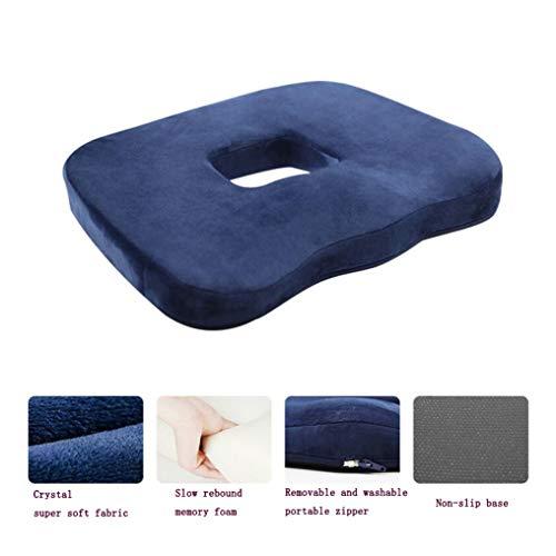 Memory Baumwolle Kissen, Anti-Dekubitus, mit Loch Schöne Gesäß Platz Esszimmer Stuhl Kissen Windel Büro Rollstuhl Auto Sitzkissen,Blue