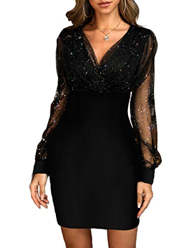 Ninimour Women Fashion Glitter Semi Sheer Mesh Bodycon Dress L Black
