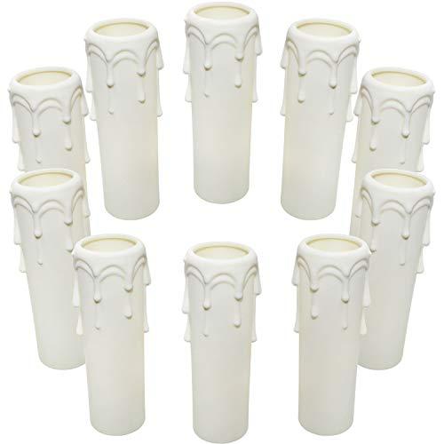 Kerzenhülse E14 kerzenhülsen 10Stk Kunststoff Weiß 100mm ø25mm Lampenfassung für Kristall Kronleuchter LED Kerzen Kronleuchte Wandleuchte Hängelampe Lampenschirme