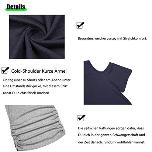 Vestido de maternidad para mujer, manga corta, fruncido, para maternidad Azul Marino-15 XL