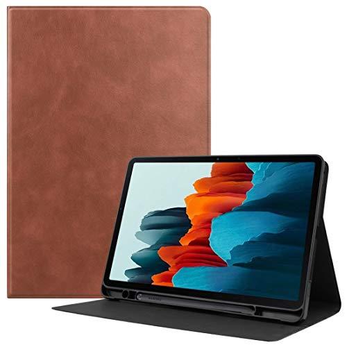HH-Phone Funda para Samsung Galaxy Tab S7 (2020) T870 Funda de piel de vacuno con textura de poliuretano termoplástico y función de reposo/despertar y ranura para bolígrafo, color marrón