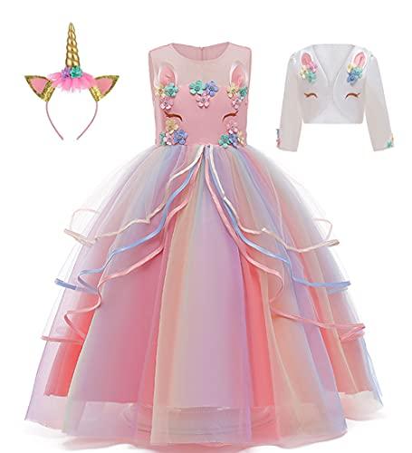 LZH flickor enhörning fest klänning blomma ruffles cosplay födelsedag prinsessa klänning