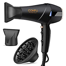 - 41p7dOK7oEL - CONFU 1875 Watt Negative Ionic Fast Drying Blow Dryer, AC Motor Low Noise Hair Blow Dryer with Diffuser & 2 Concentrator Nozzles
