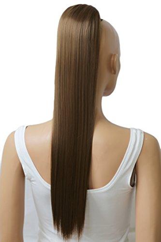 PRETTYSHOP 65cm Haarteil Zopf Pferdeschwanz Haarverlängerung Glatt Hellbraun PH606