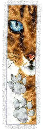 Vervaco Katze Zählmusterpackung-Lesezeichen-Stickpackung im gezählten Kreuzstich, Baumwolle, Mehrfarbig, 6 x 20 x 0.3 cm