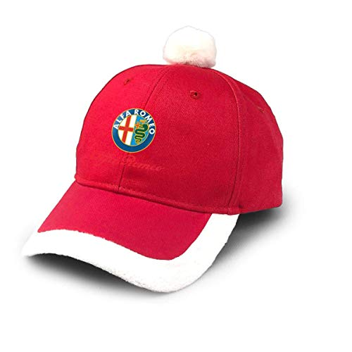 GGdjst Weihnachtsmützen, Alfa Romeo Logo Christmas Hats Red Santa Baseball Cap for Kids Adult Families Celebrate New Year Party