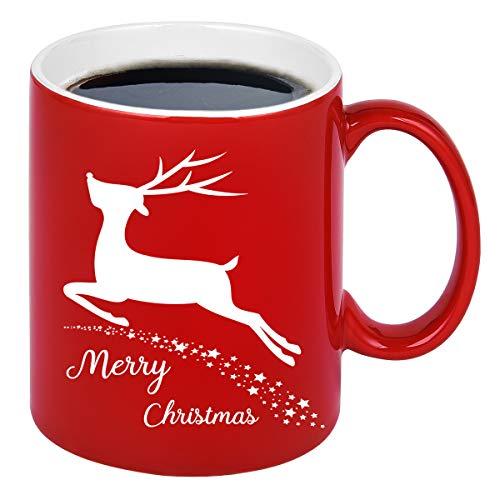 Christmas Coffee Mug with Christmas Reindeer Merry Christmas Mug New Year Gifts Red Christmas Cup Christmas Gifts for Friends Men Women Father Mother Coffee Mugs for Christmas 11Oz