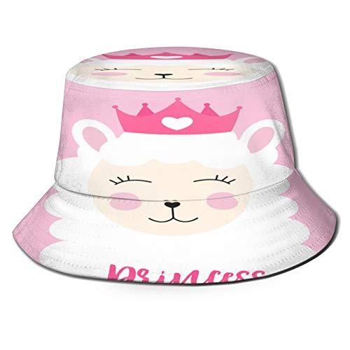 Unisex Bucket Sun Hats Little Princess Cute Llama Heart Card Fashion Summer Outdoor Travel Beach Fisherman Cap