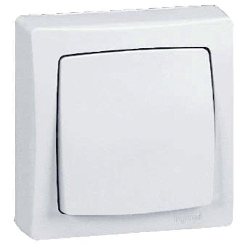 legrand 097340 Interruptor conmutador de superficie con marco, 2300 W, 230 V, Blanco