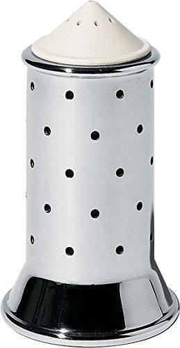 Alessi Salzstreuer aus Edelstahl mit Deckel und Verschluss aus PA, weiß