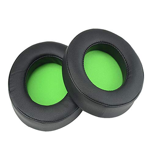 Chofit Ersatz kompatibel mit Razer Kraken 7.1 V2/Kraken V2/Kraken Pro V2 Ohrpolster, Kissen, schwarz, ovale Abdeckung, Ohrpolster, Cup-Zubehör, Memory-Schaum-Kopfhörer-Ohrpolster (schwarz-grün)