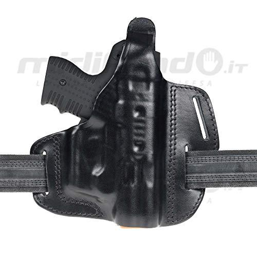 Holster aus schwarzem Leder für MiDifendo Piexol JPX4 Jet Protector