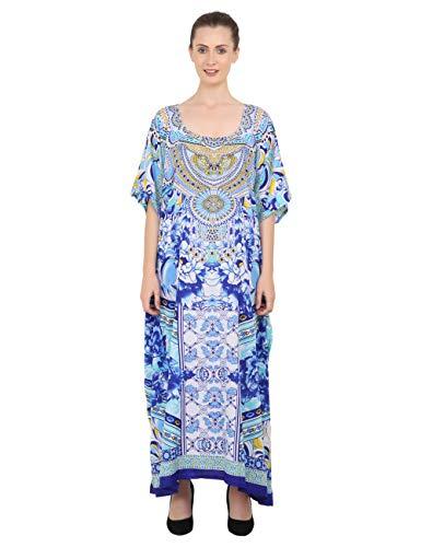 Miss Lavish London Kaftano tunica taglia unica Beach Cover Up Maxi Abito Pigiameria Impreziosito Kimono 133-blu Taglia unica
