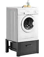 [en.casa] Pedestal para Lavadora con Cajón de Almacenamiento Soporte Mueble 63 x 54 x 31 cm hasta 150 kg Báse Estándar para Lavadora Plataforma Acero Aluminio Blanco o Negro