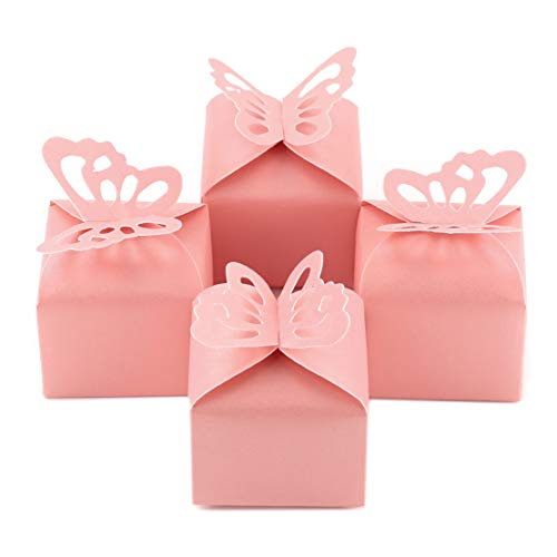 Kslong 50pcs Pink Butterfly Wedding Favor Boxes Girl Baby Shower Candy Box Decoration Party Birthday Small Gift Boxes(Pink)