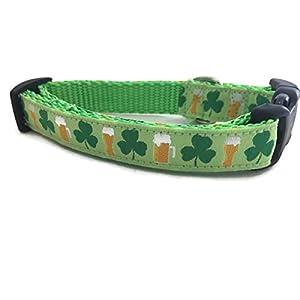 St Patricks Dog Collar, Caninedesign, Shamrock, Beer, Leprechaun, 1 inch Wide, Adjustable, Nylon, Medium and Large