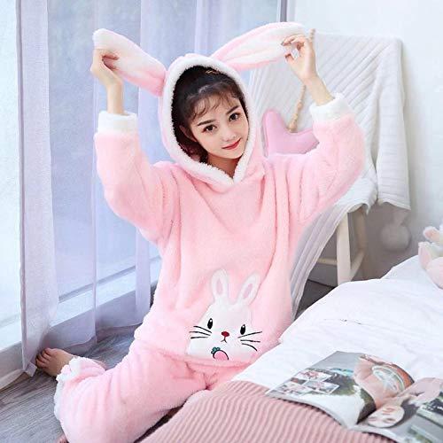Pyjama Damen Nachthemd Schlafanzug Winter Dickes Warmes Langarm-Flanell-Pyjama-Set Mit Kapuze Für Frauen Niedliche Nachtwäsche Aus Korallensamt Homewear Home Clothes M 2023