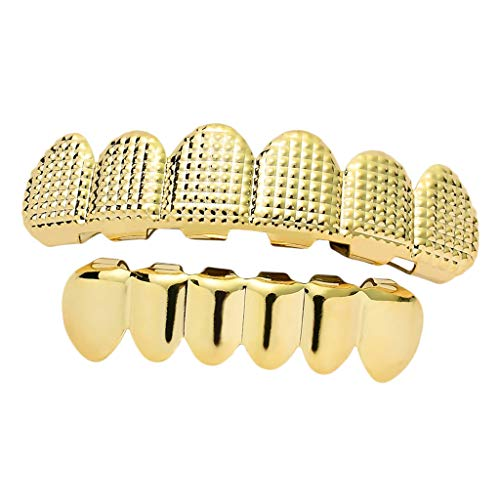 sharprepublic 18 K Zahn Grill Zahnschmuck obere und untere Zahnreihe Zähne Schmuck, Gold/Silberfarbe - Golden