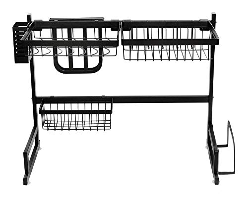 AfterMokit RV Kitchen Sink Rack Motorhome Over The Sink Dish Rack for 25 inch and Less Bowl Counter Space Dish Drying Rack for 27 inch and Up Cabinet Opening 26W x 21H x 13D Black Stainless Steel