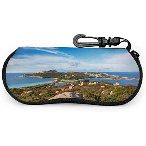 View Far North Coast Sardinien Capo Brillenetui für Kinder Brillenetui für Herren SonnenbrillenPortable Zipper Soft Case Kinder Brillenetui