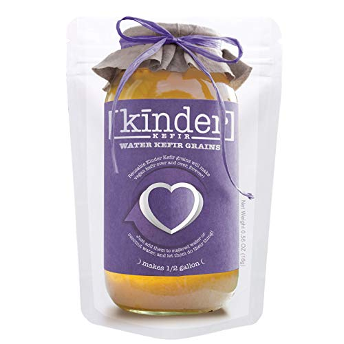 Water Kefir Grains by The Kinder Company | Live Organic Starter Culture Kit | Make 1/2 gallon vegan carbonated water kefir or coconut kefir - forever!
