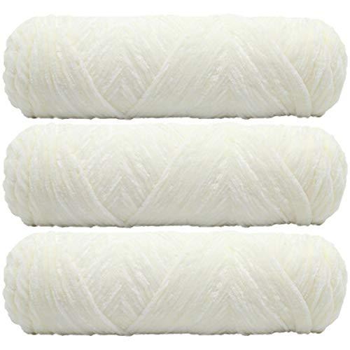 3 hilos de chenilla de 300 g de 300 g de 10 onzas de hilo de terciopelo antibolitas para bricolaje en el hogar, tejer, artesanías, suéter, bufanda, sombrero, hilo de ropa