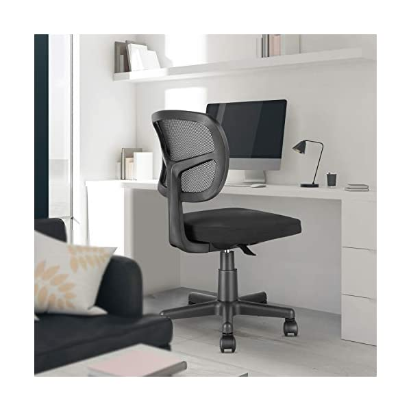 Mid Back Task Chair Armless Office Chair Mesh Computer Chair for Home Office Desk...