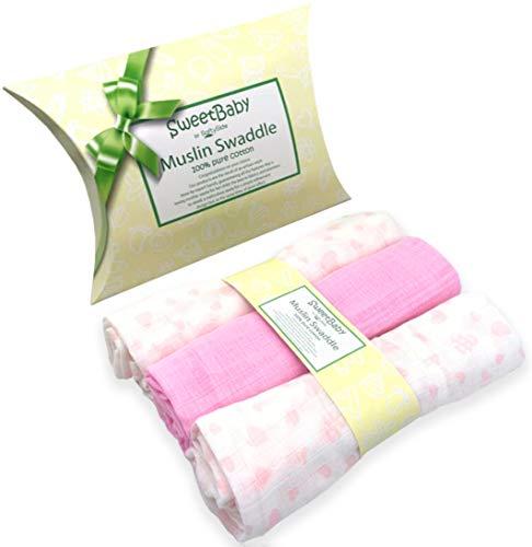 Set van 3 babyschelpen, van puur katoen, vierkant, 80 x 80 cm, zacht, wasbaar met versterkte randen, verkrijgbaar in roze en lichtblauw van SweetBaby. 80 x 80 cm Roze.