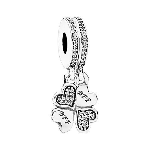 XIAODAN Best Friends Forever Charm 925 Sterling Silver Best Friends Forever Charms Fit Original Pulsera DIY Jewelry