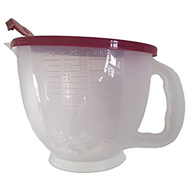 Tupperware Mix-N-Stor Batter Bowl 8 Cup Measuring Pitcher Raspberry Red BPA-Free