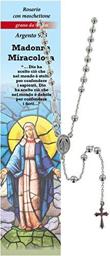 Rosario Virgen de los Milagros de plata 925 con cuentas de Ø 4 mm y oración en italiano