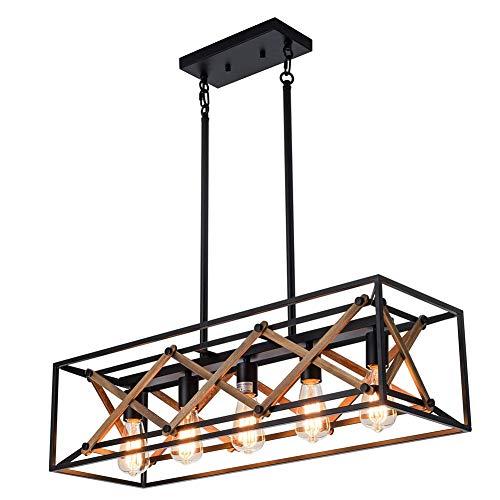 HONGLONG Kücheninsel Pendelleuchte Fixture Bauernhof Kronleuchter Beleuchtung, Billardtisch Linear-Lichter, Holz-Metallrahmen Hängeleuchte für Dinning Room (5-Light)