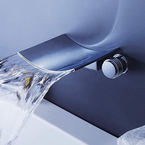 LONGWDS Lámpara de pared grifo empotrado cascada agua oculta tres agujeros montado en la pared agua caliente y fría grifo del lavabo disfrute