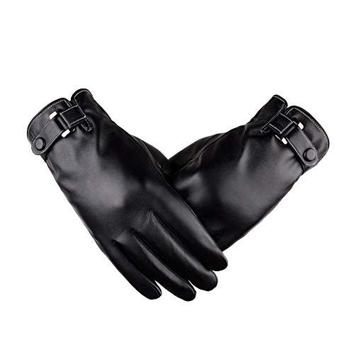lederhandschuhe für männer frauen touchscreen wasserdicht winter warme thermische handschuhe outdoor winddicht kaltes wetter radfahren fahren reithandschuhe - schwarz