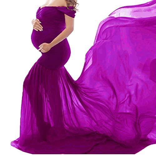 NIDONE Vestido Foto Embarazada con un Hombro sin Mangas de la fregona Apoyo de la Foto en tamaño púrpura
