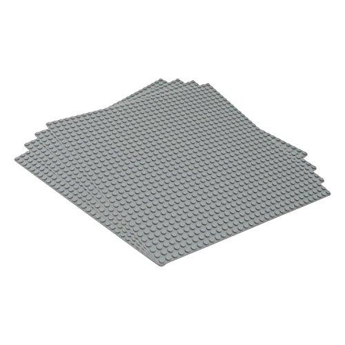 Katara - bouwplaat set van 4 25,5 cm x 25,5 cm / 32 x 32 pins, compatibel Lego grijs set van 4